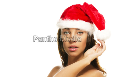 young beautiful woman with santa hat