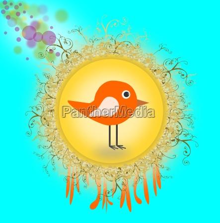 creative circle with bird cartoon style