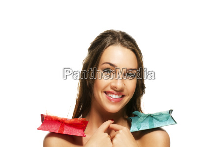 shoulders beautiful woman with presents on