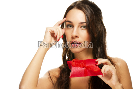likely young woman with red gift
