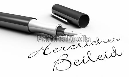 cordiali condoglianze concetto di penna