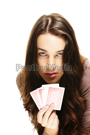 beautiful woman playing poker
