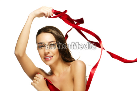beautiful brunette woman with red ribbon