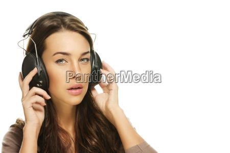 hear beautiful young woman in music
