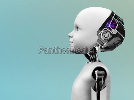 testa del robot bambino nel profilo
