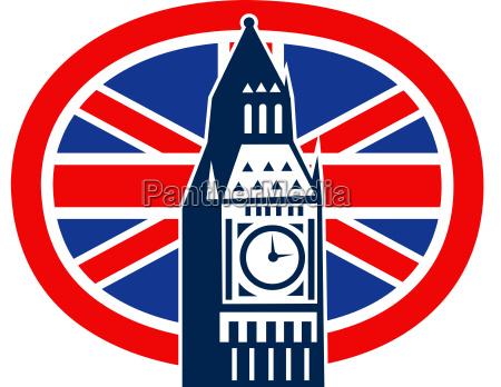londra big ben british union jack