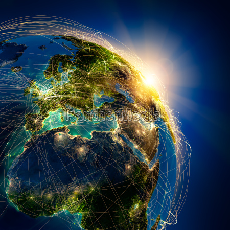 trasporto percorso linea aerea globo terra