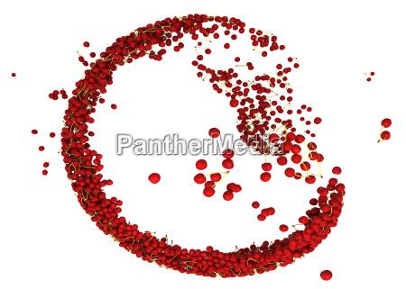 dolce rosso ciliegia flusso isolato su