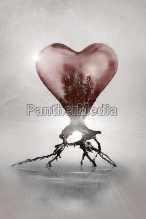 arte albero fantasia radice cuore cuori