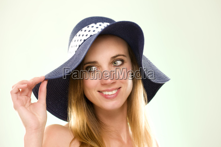 portrait of woman with summer hat