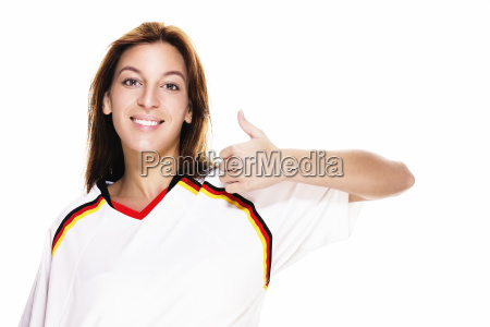 happy young woman in football shirt