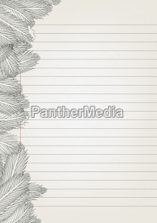 notepad paper with leaves drawing