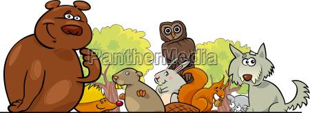 disegno di animali delle foreste del