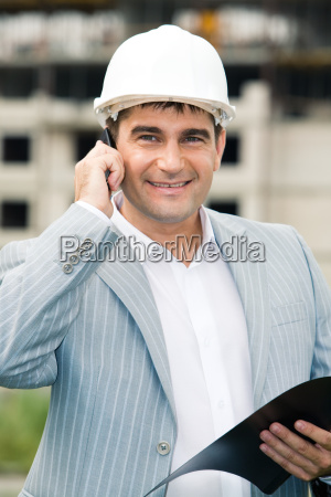 businessman with helmet
