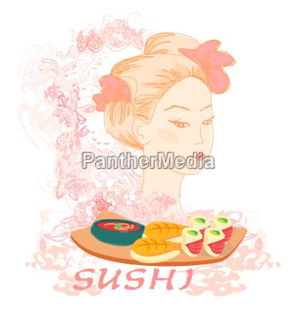 bella ragazza asiatica godere di sushi