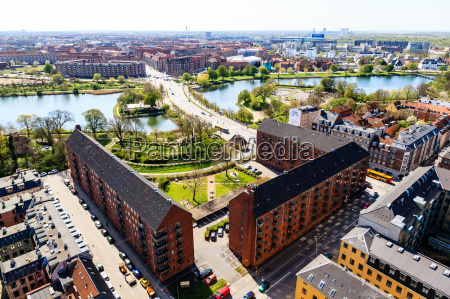 aerial view on roofs and canals