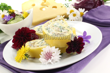 cheese roll with wild herb salad