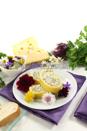 cheese rolls with edible flowers