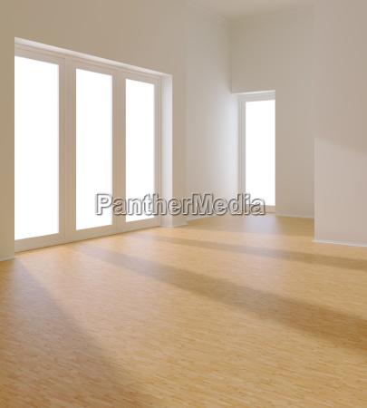stanza bianca vuota con finestra