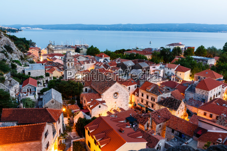 aerial view on illuminated town of