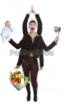 donna giocoleria frutta