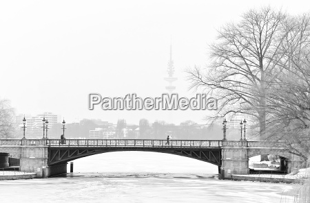 inverno ponte amburgo jogger