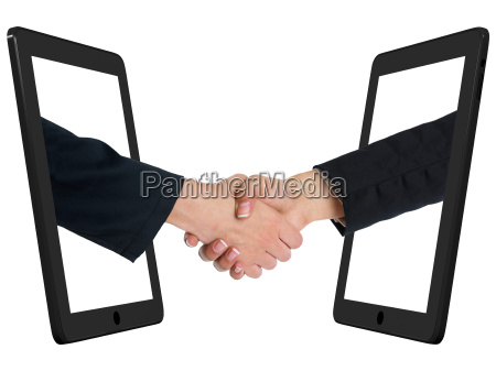 portatile computer mano mani amicizia stretta