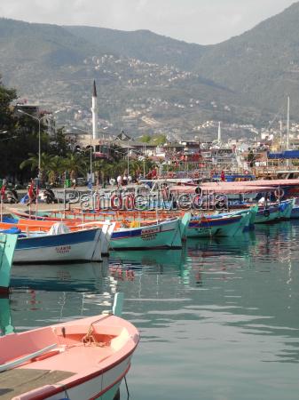 fishing harbor in alanya turkey