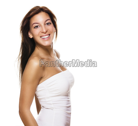 happy young woman turns around