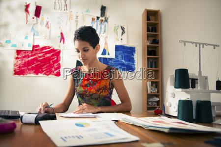 donna ispanica facendo bilancio in designer