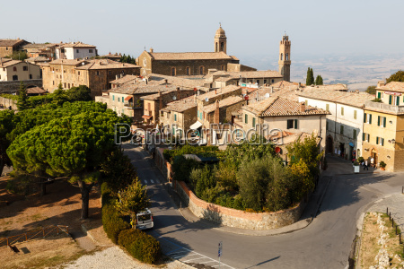 aerial view of montalcino the city