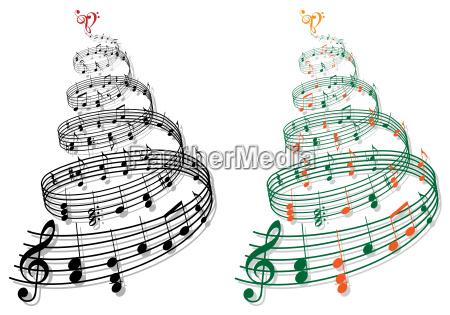 albero con note di musica