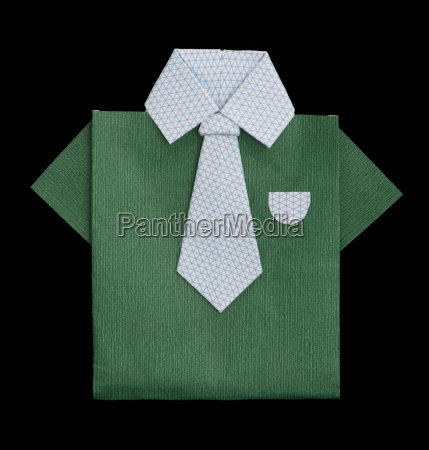 isolated paper made green shirt