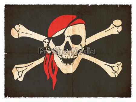pirantenflagge in stile grunge