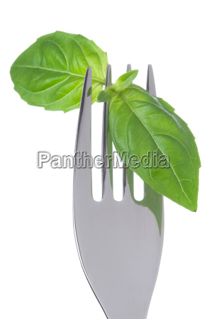basil leaves on a fork