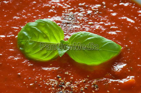 basil garnish on tomato soup