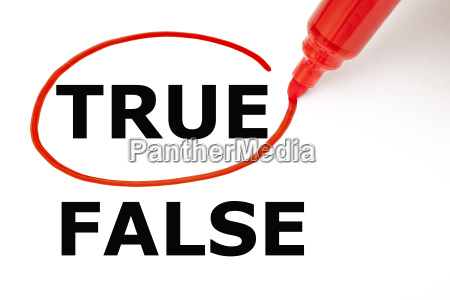 true or false with red marker