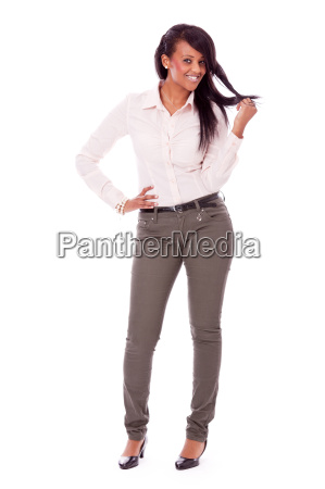 young successful laughing woman in free