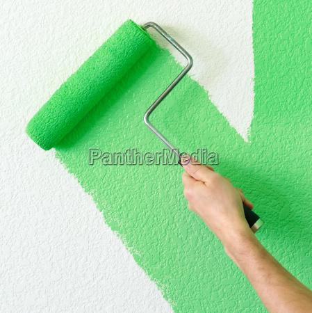 casa costruzione mano verde pittura muro