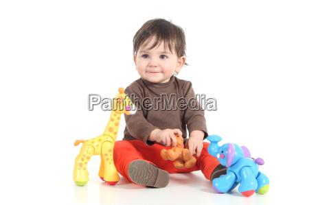 bambino che gioca con i giocattoli
