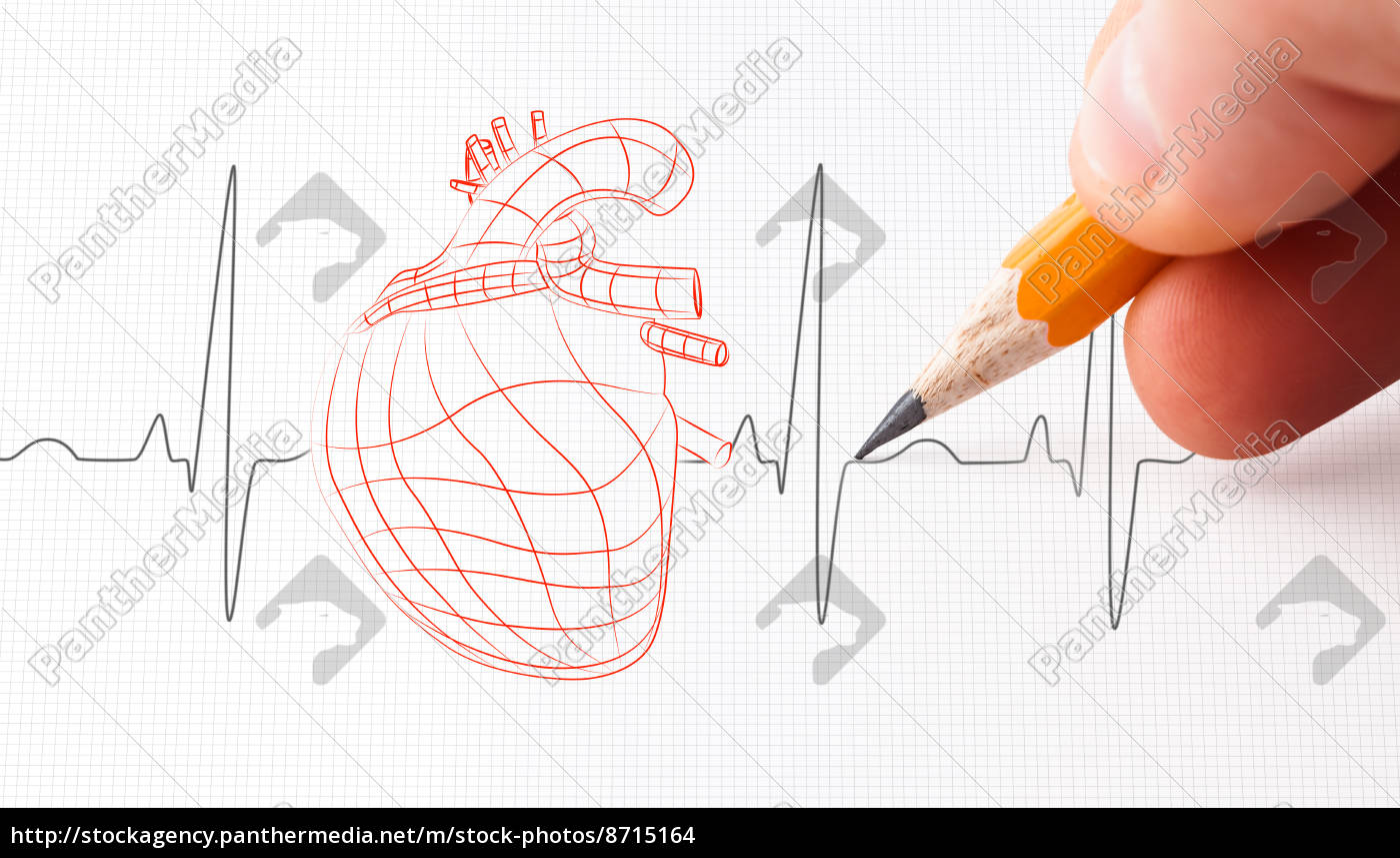 schizzo, di, un, cuore, e, la - 8715164
