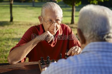 active retired people two senior men