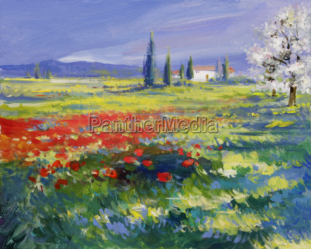 pittura di paesaggio estivo