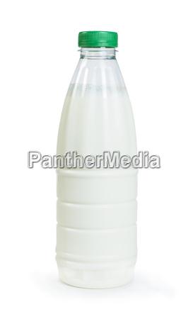 plastic transparent bottle with milk