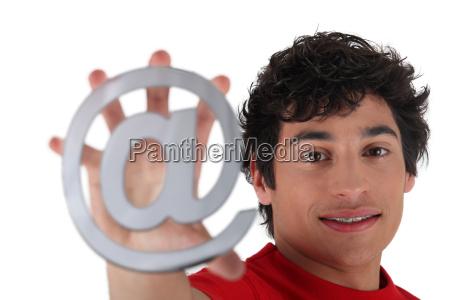 man showing at sign