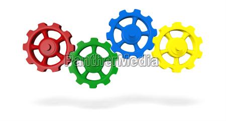 ingranaggi colorati verde rosso blu giallo