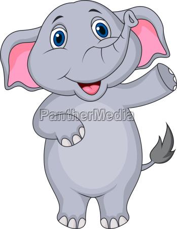 carino elefante fumetto agitando mano