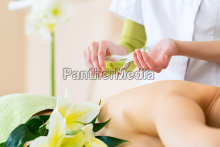 woman receives a massage at the