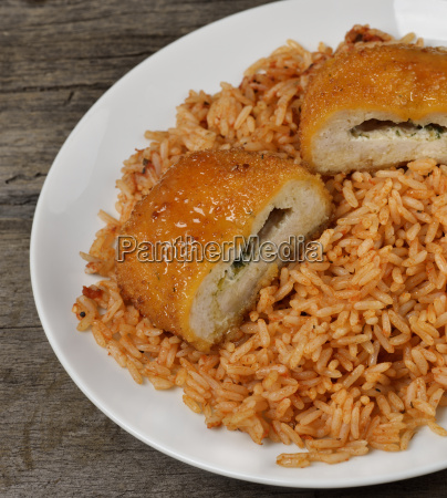 stuffed chicken fillet with rice