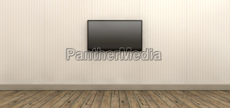 tv screen mounted on paper wall
